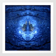 Wintery Abstract Forest Art Print