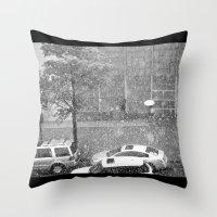 Rainy NYC Sidewalk Throw Pillow