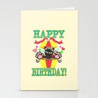 happy birthday Stationery Cards featuring Happy Birthday! by BATKEI