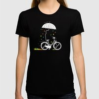 I want to ride my bike ! Womens Fitted Tee Black SMALL