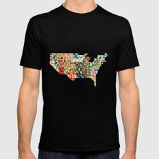 Geometric United States SMALL Black Mens Fitted Tee