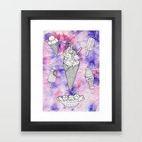 RAINBOW ICE CREAM Framed Art Print