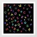 Kids Alphabet Soup Shower Curtain/Duvet - Black Art Print