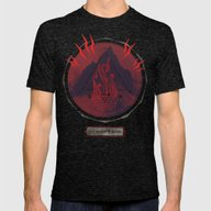 Mountain Of Madness (red… Mens Fitted Tee Tri-Black SMALL
