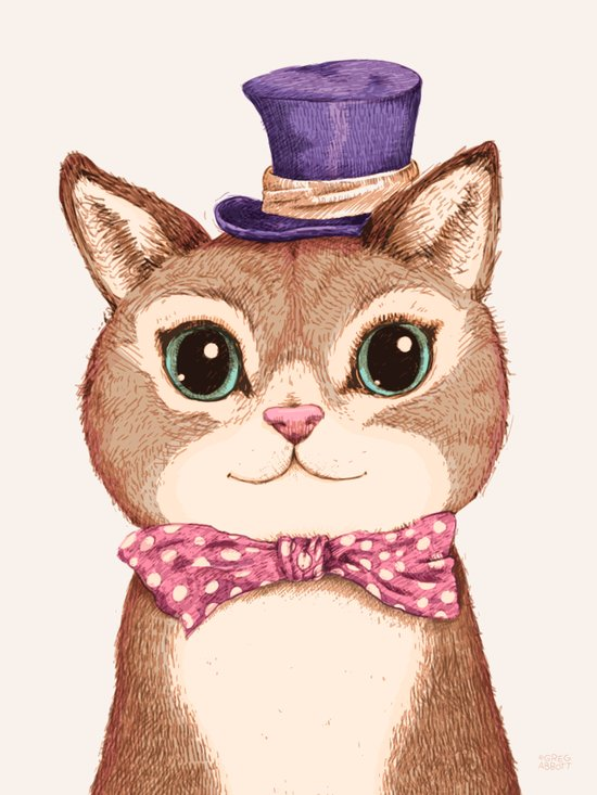 Cat in the Purple Hat Canvas Print