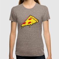 Pizza Every Day Womens Fitted Tee Tri-Coffee SMALL