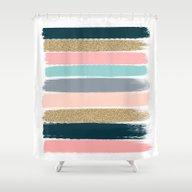 Zara - Brushstroke Glitt… Shower Curtain