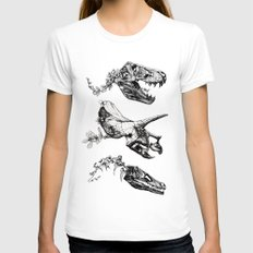 Jurassic Bloom. Womens Fitted Tee White MEDIUM