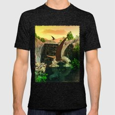 Fantasy Worlds 3D Dinosaur 2 Mens Fitted Tee Tri-Black SMALL