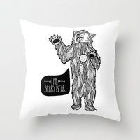 Scary Bear 2 Throw Pillow