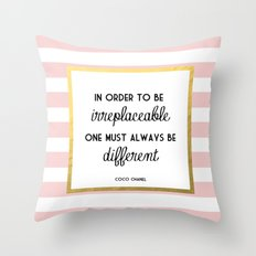 Coco Gold Pink Fashion Quote Throw Pillow