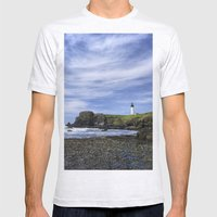 Yaquina Lighthouse Mens Fitted Tee Ash Grey SMALL