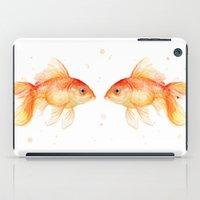 Goldfish Love Watercolor Fish Painting iPad Case