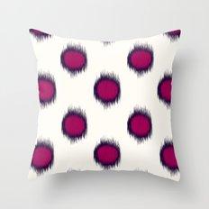 Ikat Dots Raspberry Plum Throw Pillow