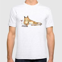 The Cat Relaxes Mens Fitted Tee Ash Grey SMALL