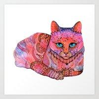 SUNSET CAT Art Print