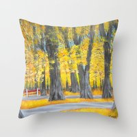 Golden park Throw Pillow