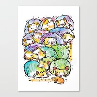 Hedgehog family Canvas Print