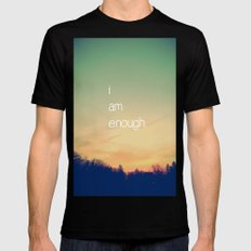 I Am Enough Black SMALL Mens Fitted Tee