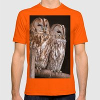 Tawny Owls In Nature Mens Fitted Tee Orange SMALL