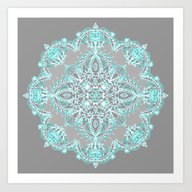 Teal And Aqua Lace Manda… Art Print