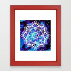 Mandala : Bright Violet & Teal Galaxy Framed Art Print