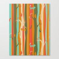 Woodland Stripe Orange Canvas Print
