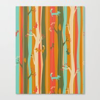 Woodland Stripe Orange Canvas Print
