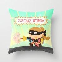Cupcake woman Throw Pillow