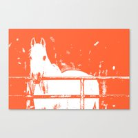 White Horse - Coral Red Canvas Print