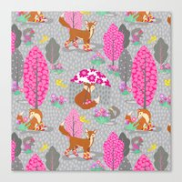 Foxes In Galoshes - Pink… Canvas Print