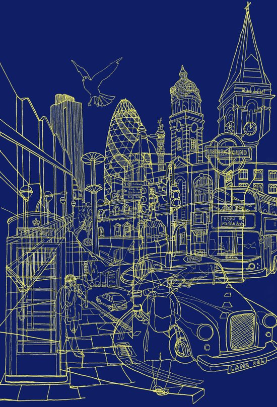 London! Navy Art Print