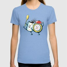 Wake up! Wake up! Womens Fitted Tee Tri-Blue SMALL