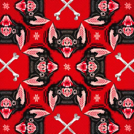 Vampire Bat Face Geometric Pattern Art Print