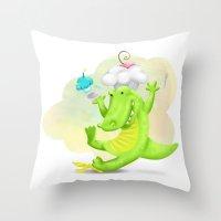Slippery gator Throw Pillow