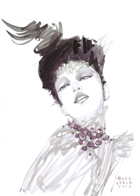 Purple dramatic fashion illustration Art Print