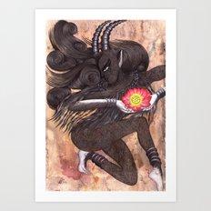 Capricorn, The Ambitious Goat: Dec 22 - Jan 20 / Original Gouache On Paper Art Print