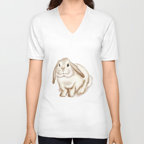 Watercolor Bunny V-neck T-shirt