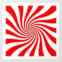 Swirl (Red/White) Art Print
