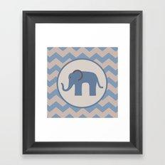 Baby Blue Chevron Elephant  Framed Art Print