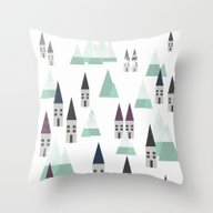Village On Winter Throw Pillow