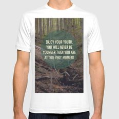 Enjoy Your Youth White Mens Fitted Tee SMALL