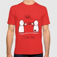 Hello I Love You Mens Fitted Tee Red SMALL