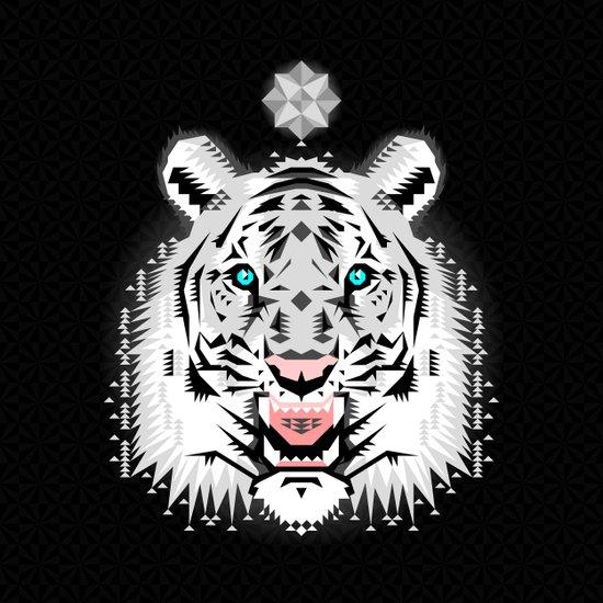 Silver Geometric Tiger Art Print
