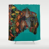 bison teal Shower Curtain