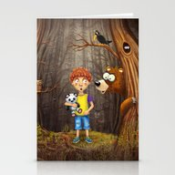 Little Boy With The Anim… Stationery Cards