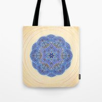 Blue Morocco Tile Mandala Tote Bag