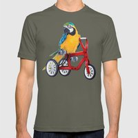 Parrot macaw on red bike Mens Fitted Tee Lieutenant SMALL