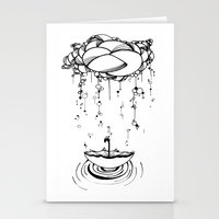 Abstract Whimsical illustration, Rain, cloud, umbrella, Black and white, pen and ink Stationery Cards