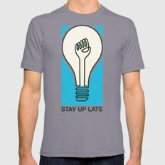 Stay Up Late Mens Fitted Tee Slate SMALL